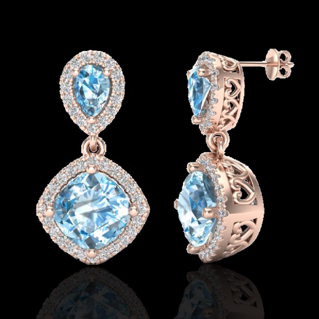 7 CTW Sky Blue Topaz & Micro VS/SI Diamond Earrings - 2