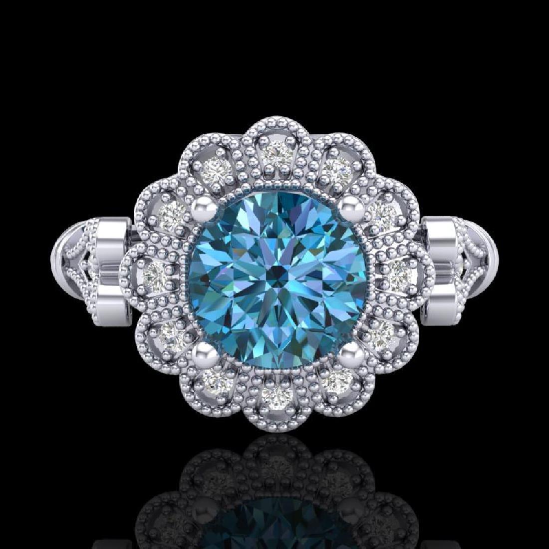 1.2 CTW Intense Blue Diamond Solitaire Engagement Art - 2