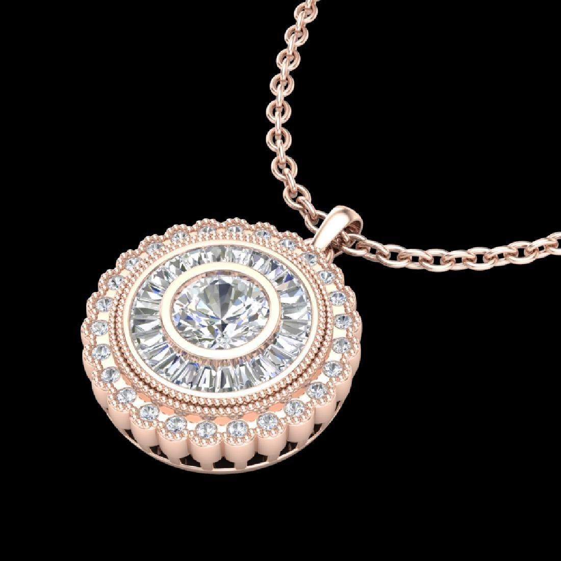 2.11 CTW VS/SI Diamond Solitaire Art Deco Stud Necklace