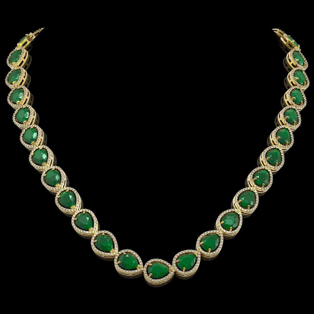 64.01 CTW Emerald & Diamond Halo Necklace 10K Yellow