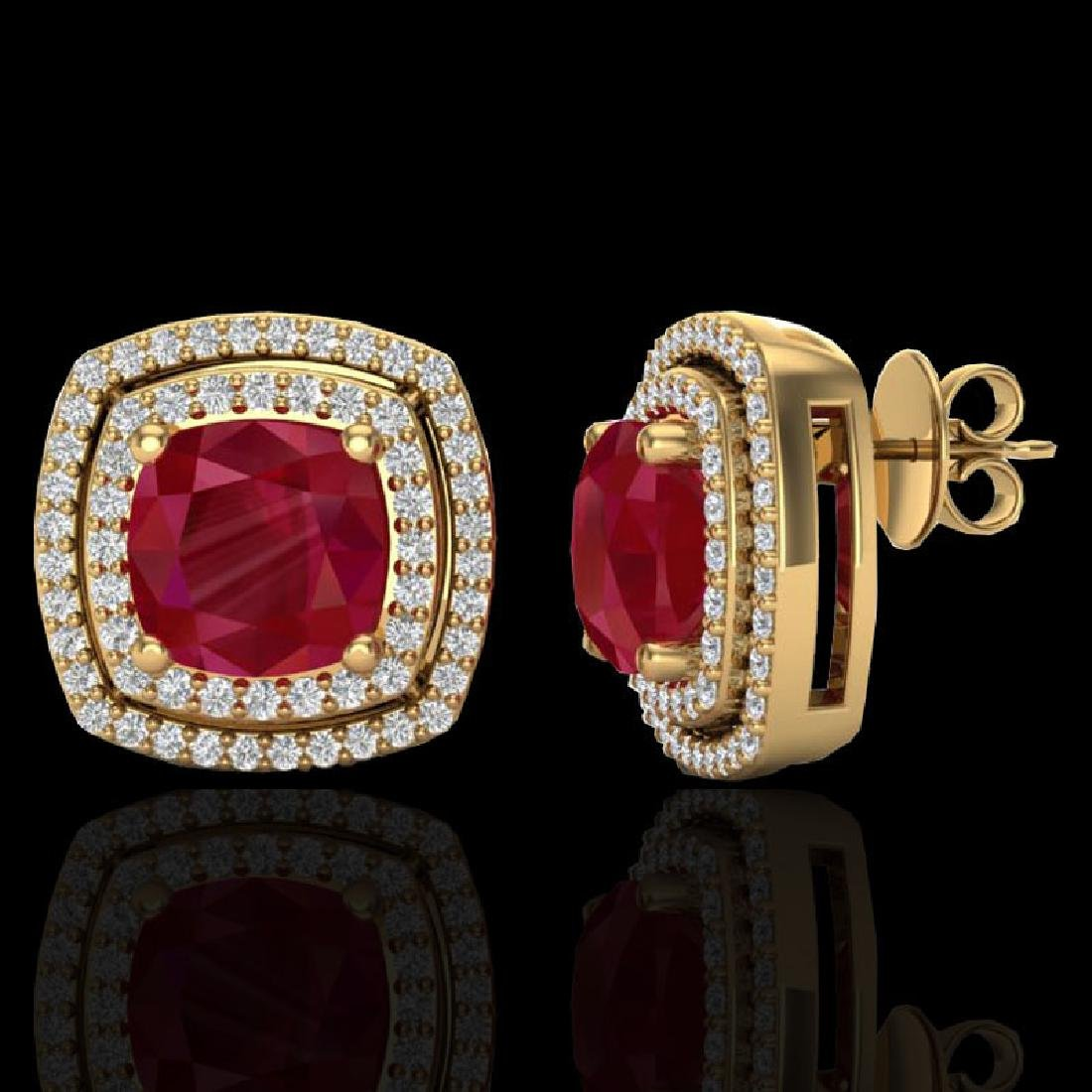 4.95 CTW Ruby & Micro Pave VS/SI Diamond Halo Earrings - 2