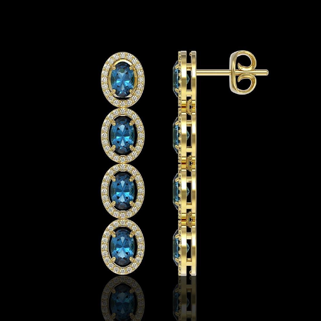 6.28 CTW London Topaz & Diamond Halo Earrings 10K - 2
