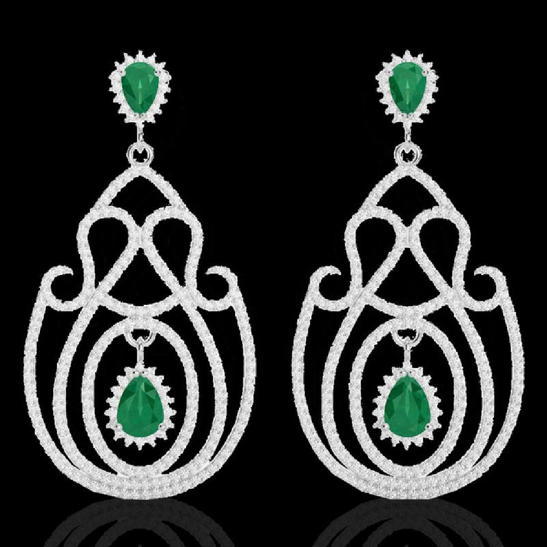 6.40 CTW Emerald & Micro Pave VS/SI Diamond Earrings - 2