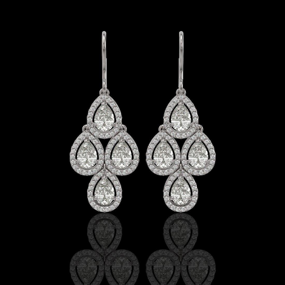 5.22 CTW Pear Diamond Designer Earrings 18K White Gold