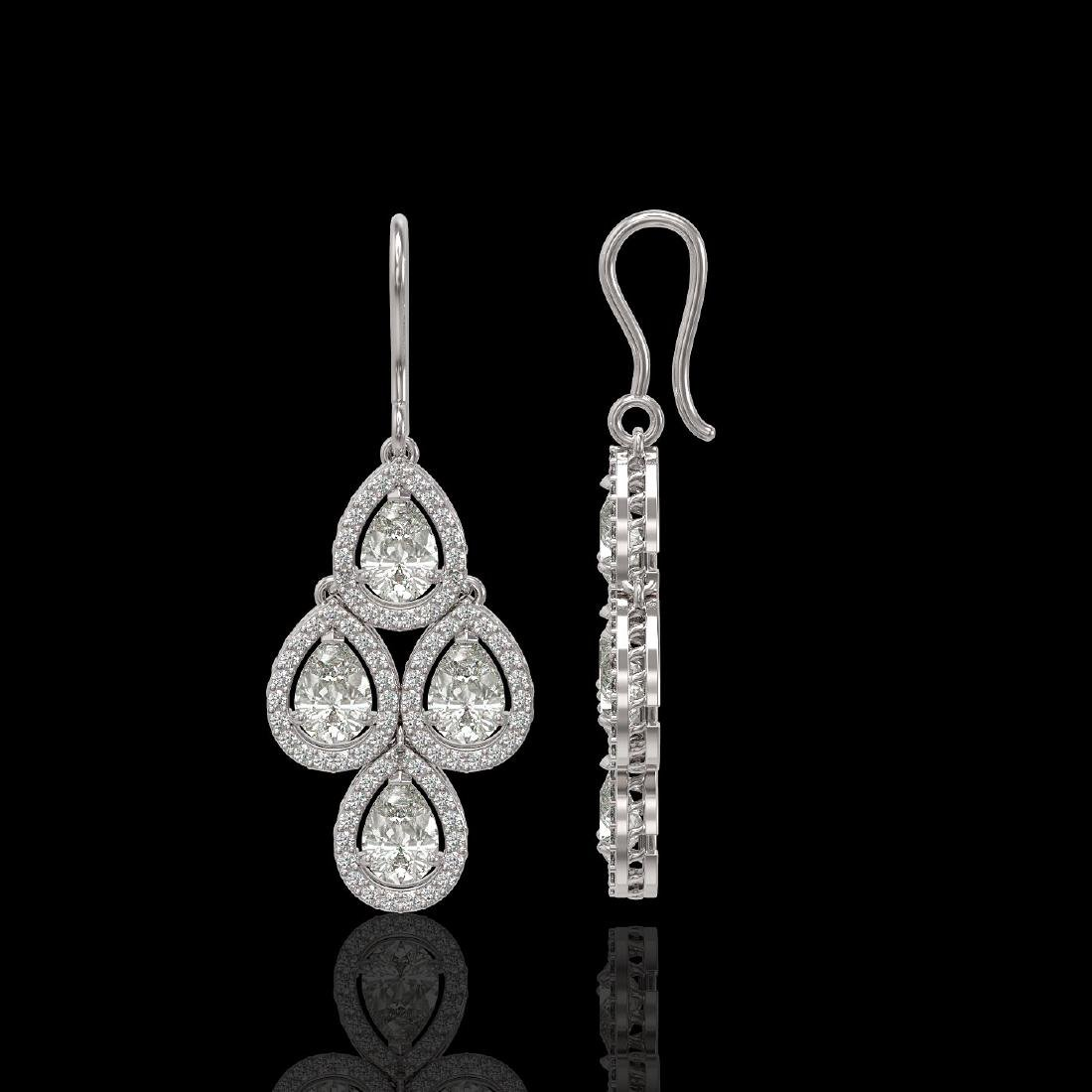 5.22 CTW Pear Diamond Designer Earrings 18K White Gold - 2