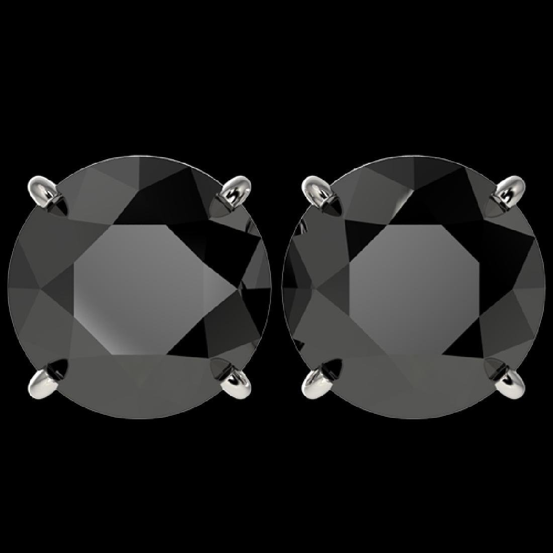 5 CTW Fancy Black VS Diamond Solitaire Stud Earrings