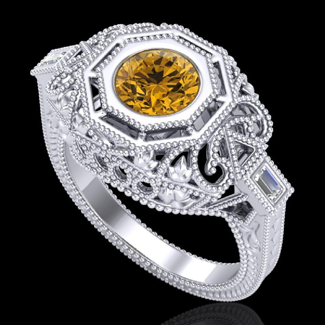 1.13 CTW Intense Fancy Yellow Diamond Engagement Art