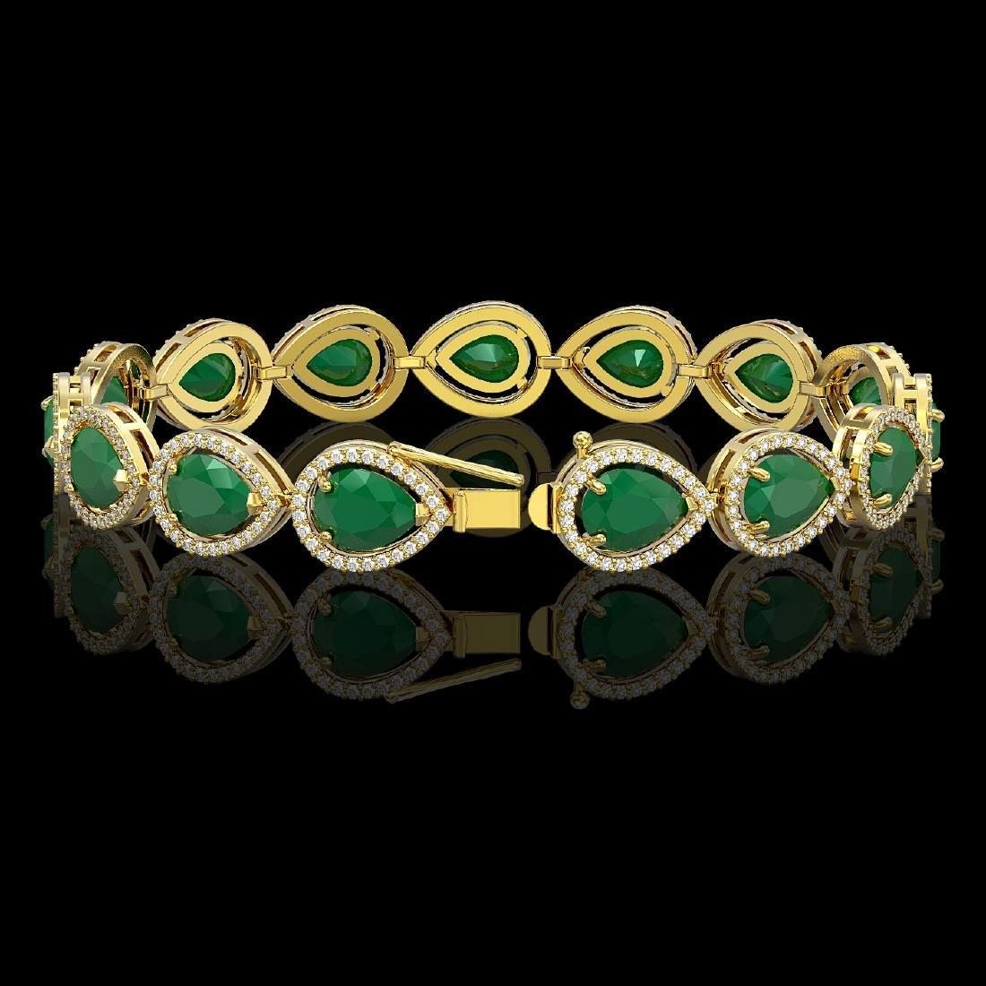 30.06 CTW Emerald & Diamond Halo Bracelet 10K Yellow - 2