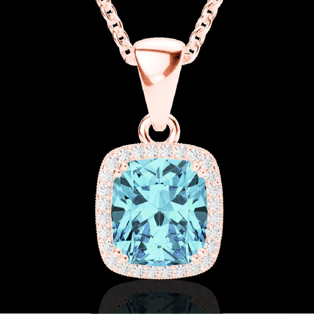 3.50 CTW Sky Blue Topaz & Micro VS/SI Diamond Halo - 2