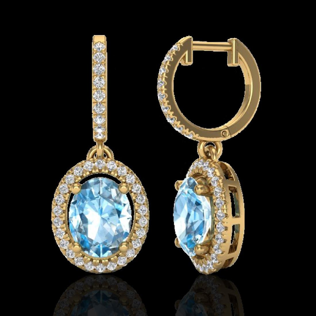 4.25 CTW Sky Blue Topaz & Micro VS/SI Diamond Earrings - 2