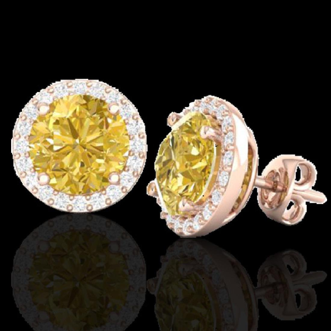 4 CTW Citrine & Halo VS/SI Diamond Micro Pave Earrings - 2