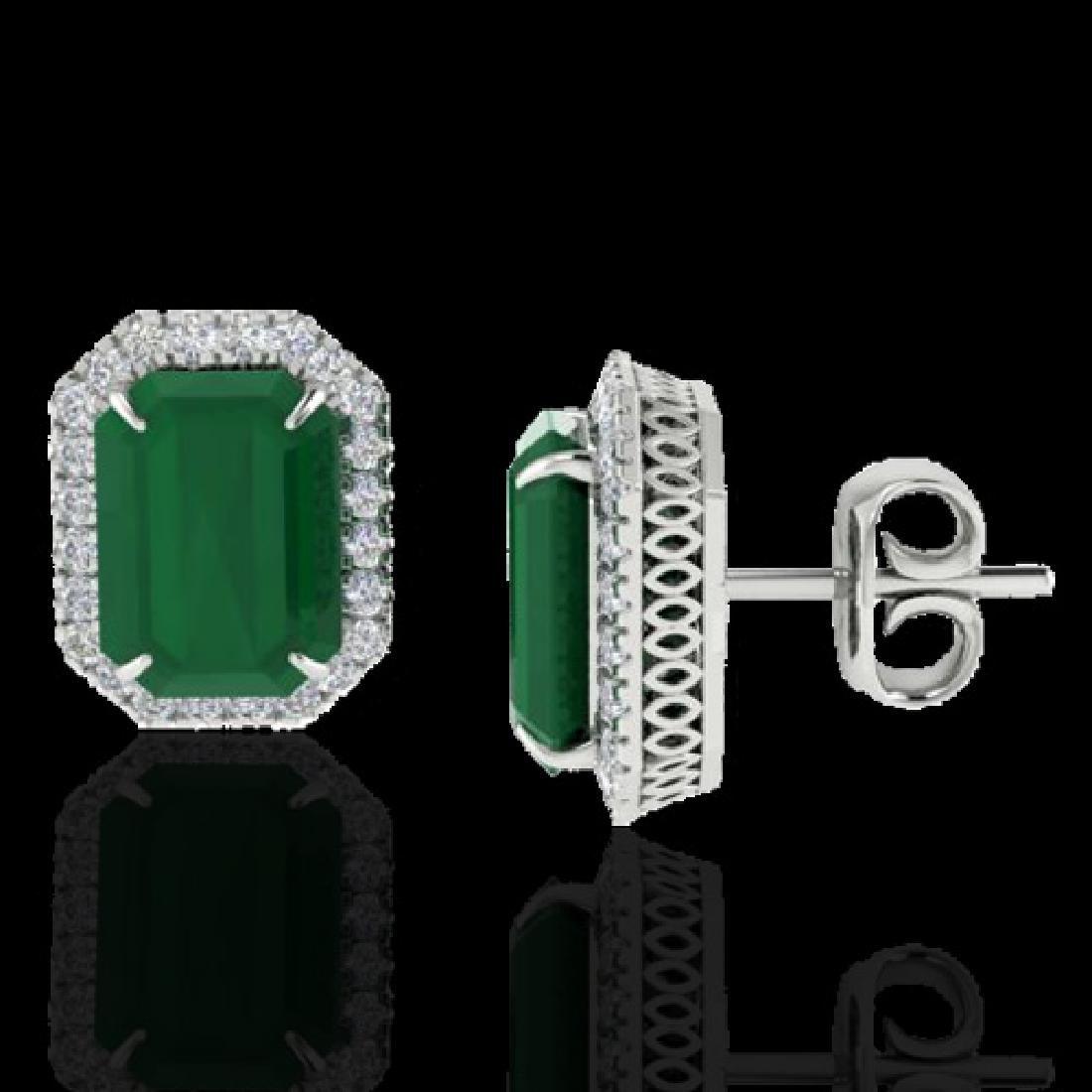 10.40 CTW Emerald & Micro Pave VS/SI Diamond Halo - 2