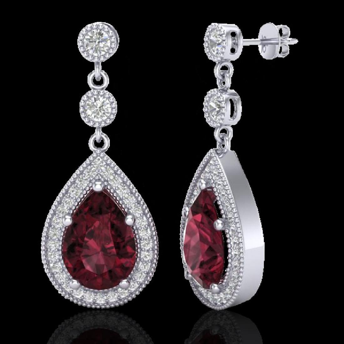 4.50 CTW Garnet & Micro Pave VS/SI Diamond Earrings - 2