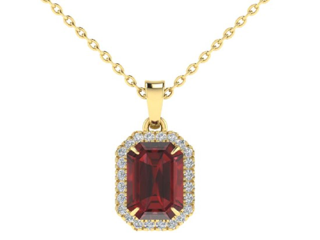 6 CTW Garnet And Micro Pave VS/SI Diamond Halo Necklace - 2