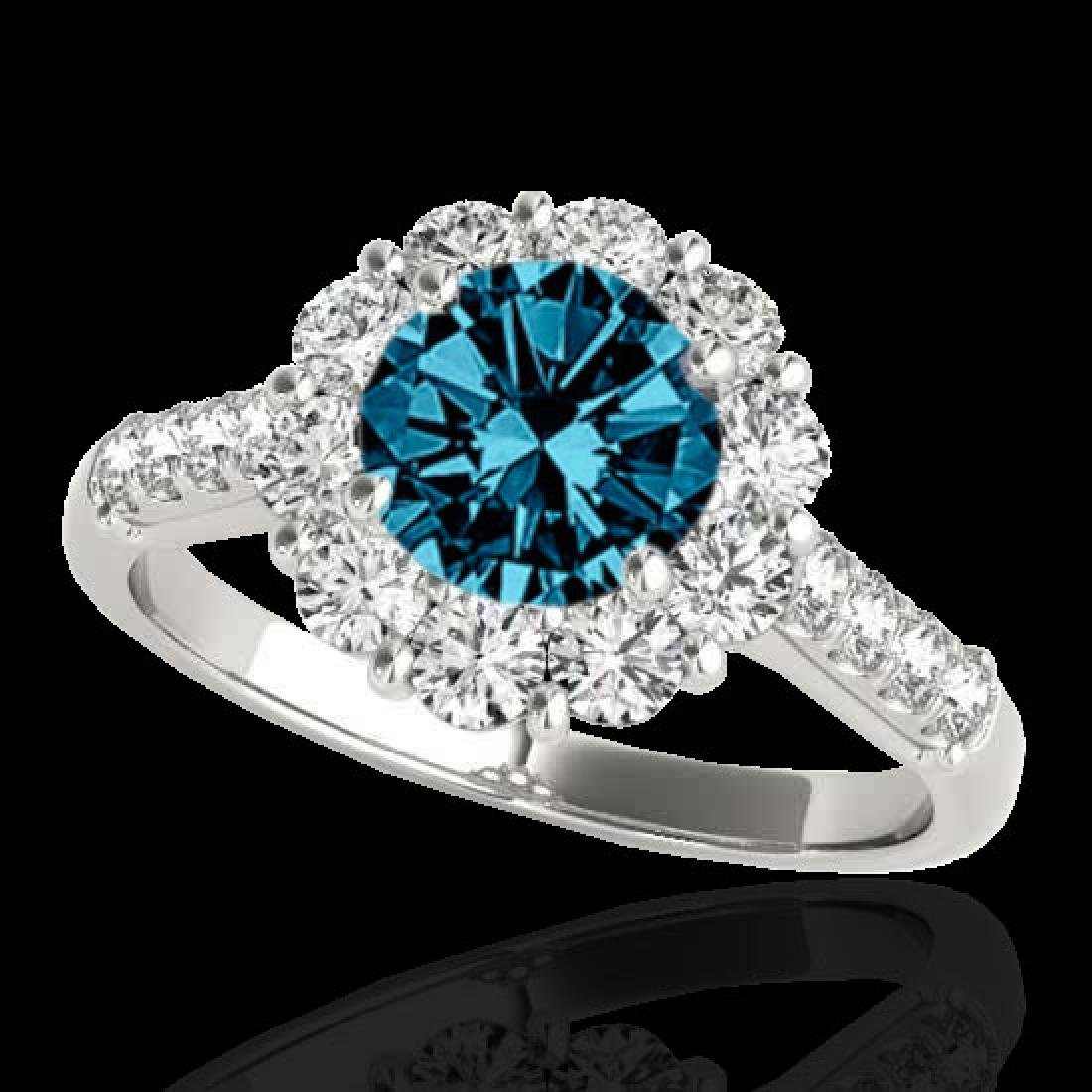 2.75 CTW SI Certified Fancy Blue Diamond Solitaire Halo