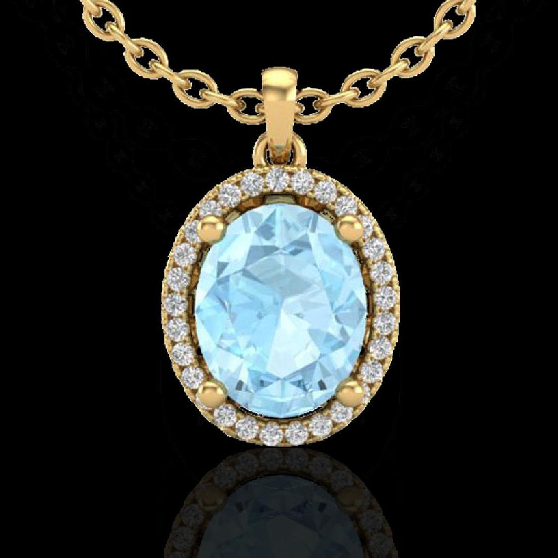 2.50 CTW Aquamarine & Micro VS/SI Diamond Necklace Halo - 2