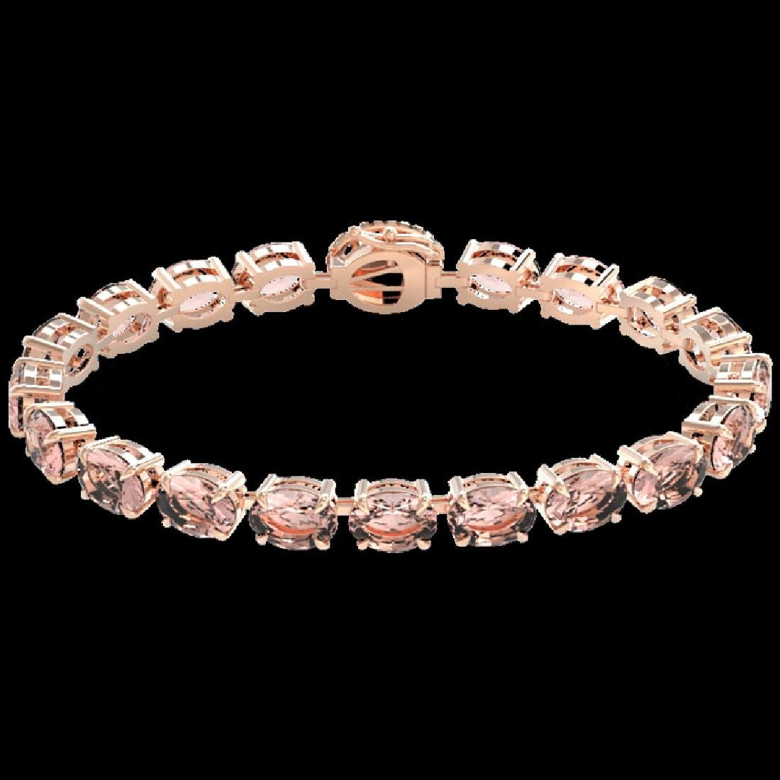 26 CTW Morganite & VS/SI Diamond Tennis Micro Halo - 2