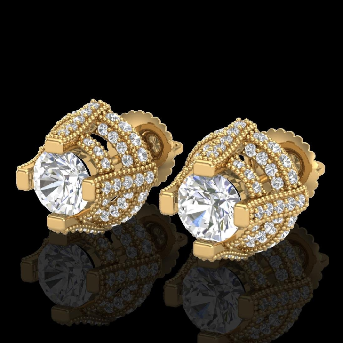 2.75 CTW VS/SI Diamond Micro Pave Stud Earrings 18K