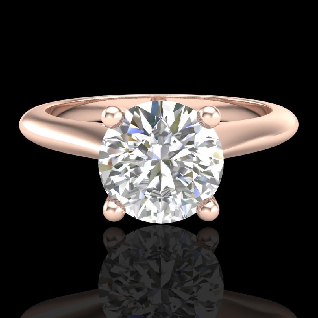 1.36 CTW VS/SI Diamond Solitaire Art Deco Ring 18K Rose - 2