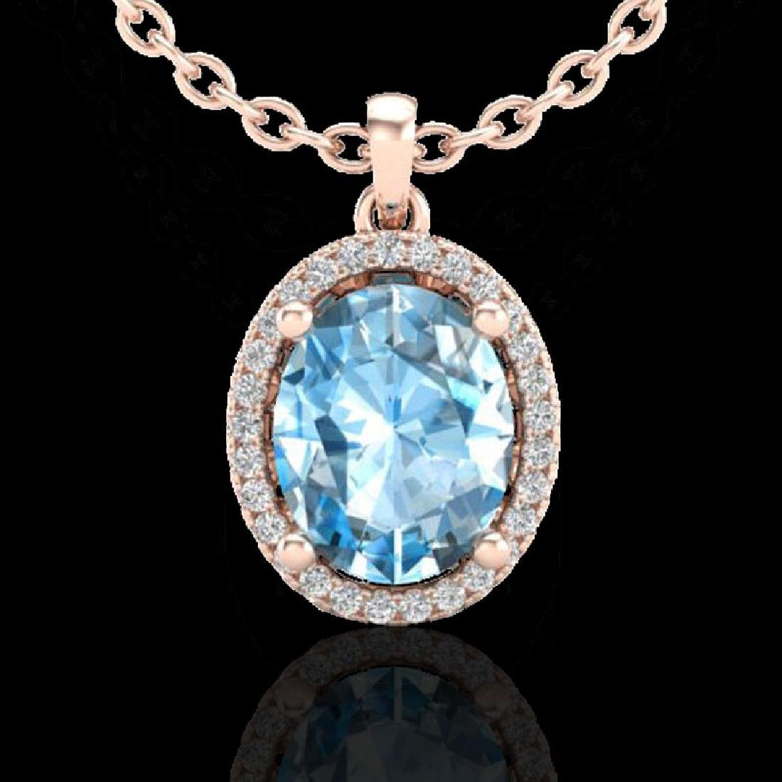 3 CTW Sky Blue Topaz & Micro Pave VS/SI Diamond - 2