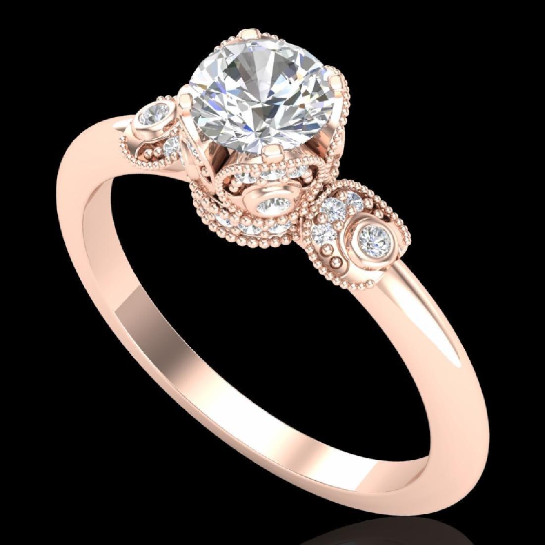 1 CTW VS/SI Diamond Solitaire Art Deco Ring 18K Rose