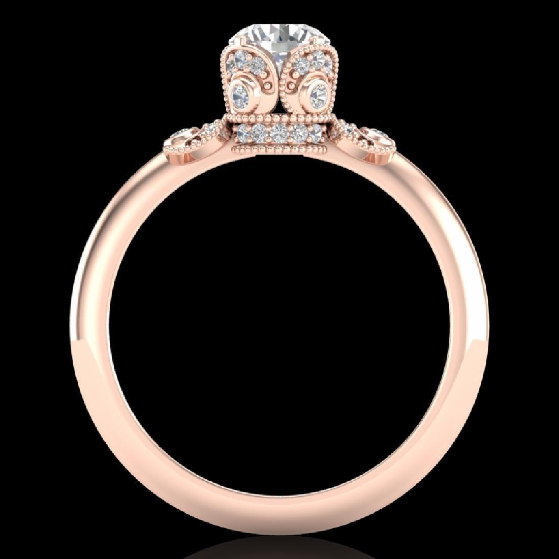 1 CTW VS/SI Diamond Solitaire Art Deco Ring 18K Rose - 2