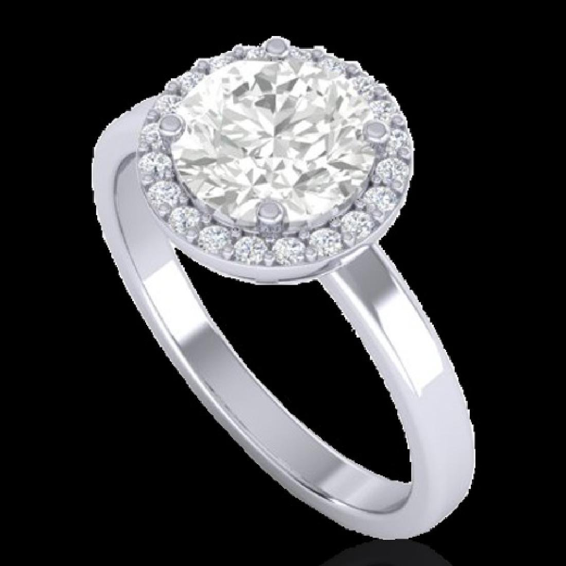 1.75 CTW Halo VS/SI Diamond Micro Pave Ring Solitaire - 2