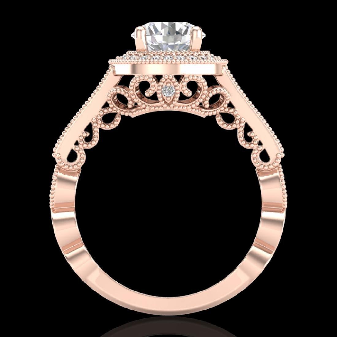 1.91 CTW VS/SI Diamond Solitaire Art Deco Ring 18K Rose