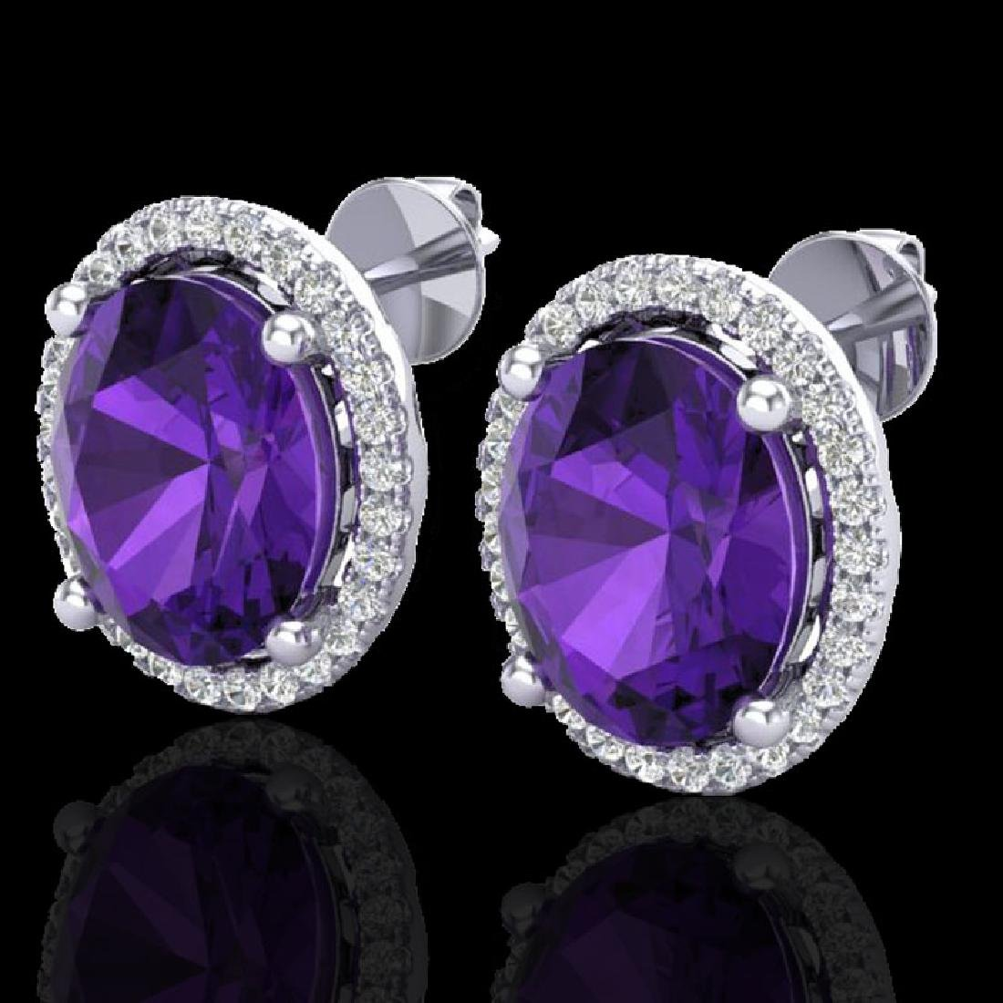 5 CTW Amethyst & Micro Pave VS/SI Diamond Earrings Halo