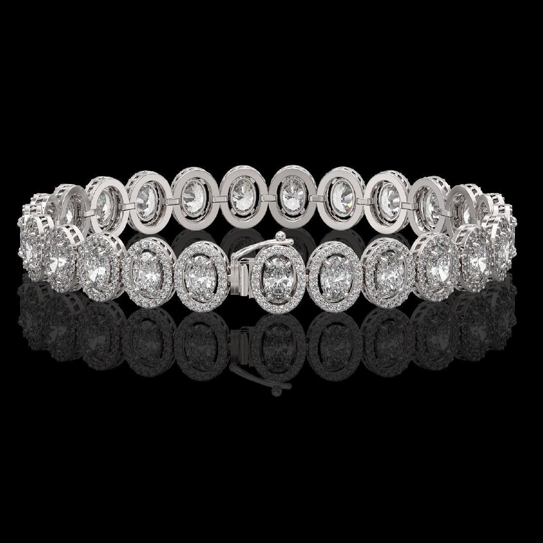 15.8 CTW Oval Diamond Designer Bracelet 18K White Gold - 2