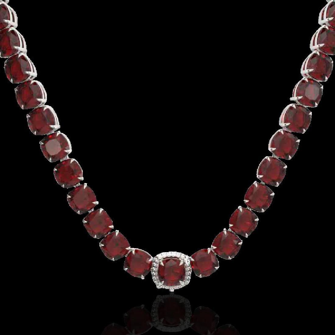 87 CTW Garnet & VS/SI Diamond Halo Micro Pave Necklace - 2