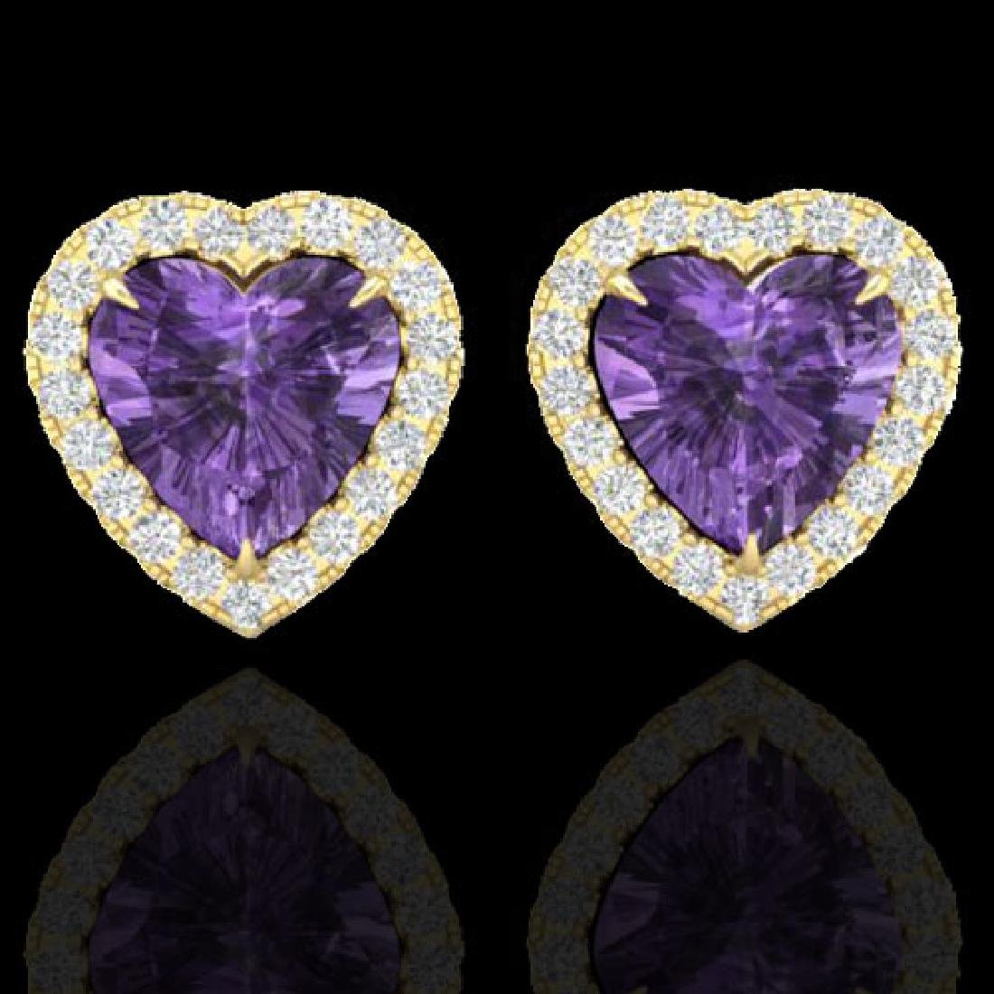 2 CTW Amethyst & Micro Pave VS/SI Diamond Earrings
