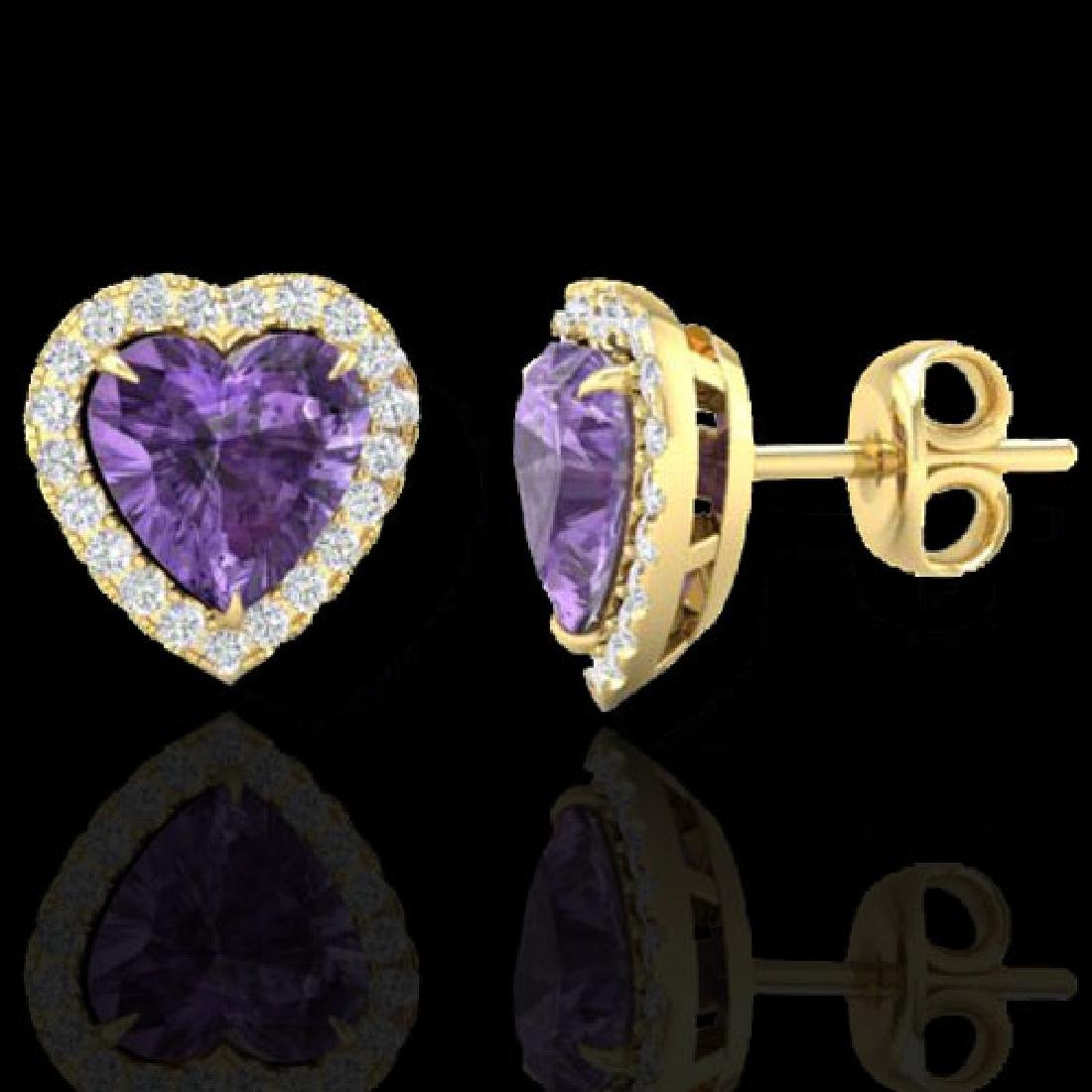 2 CTW Amethyst & Micro Pave VS/SI Diamond Earrings - 2