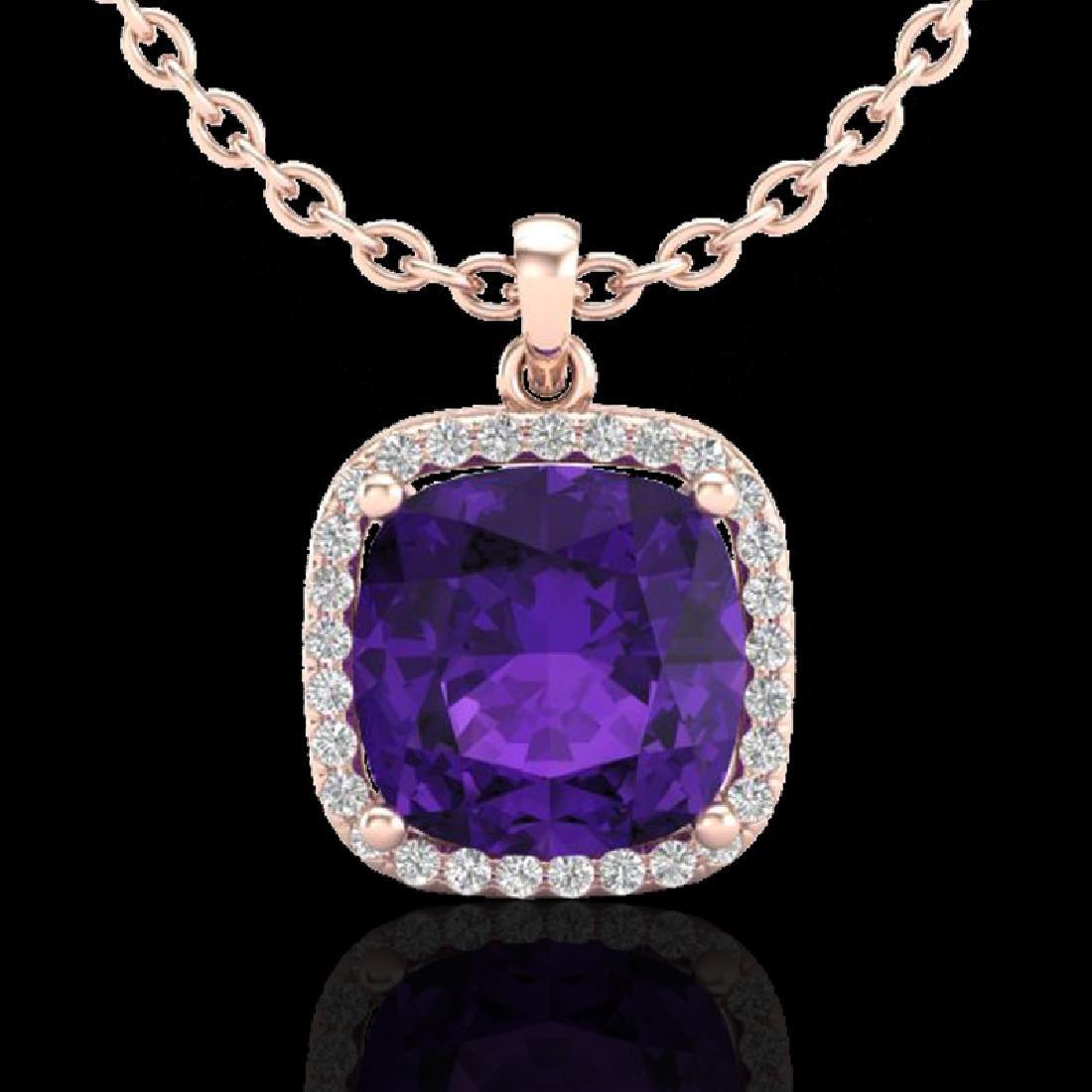 6 CTW Amethyst & Micro Pave Halo VS/SI Diamond Necklace - 2