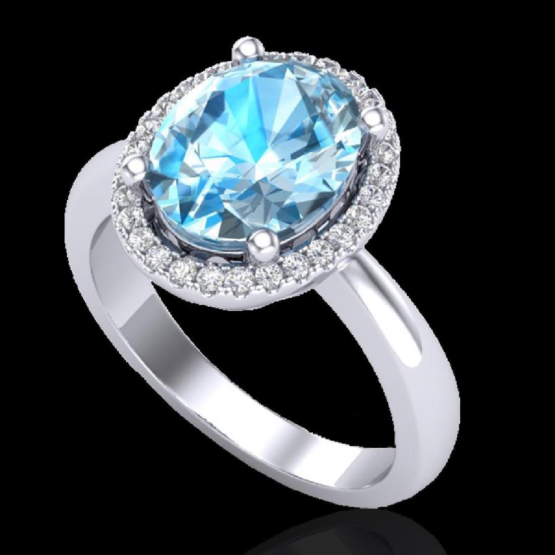 3 CTW Sky Blue Topaz & Micro Pave VS/SI Diamond Ring - 2