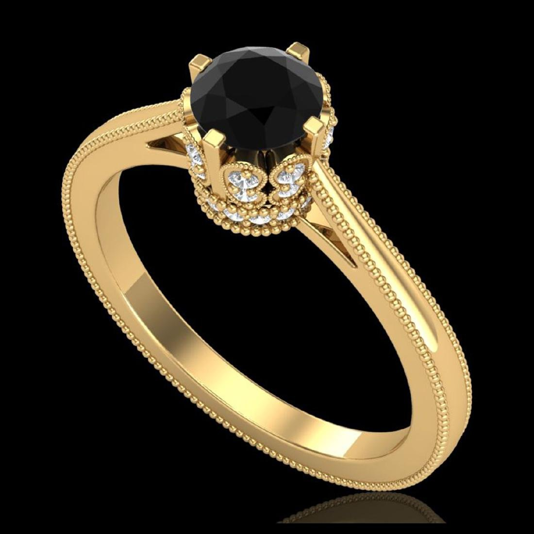 0.81 CTW Fancy Black Diamond Solitaire Engagement Art