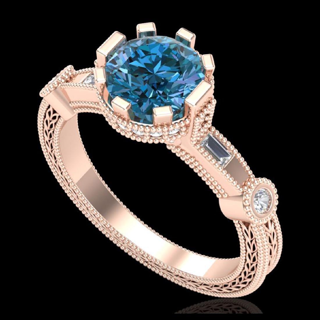 1.71 CTW Fancy Intense Blue Diamond Solitaire Art Deco