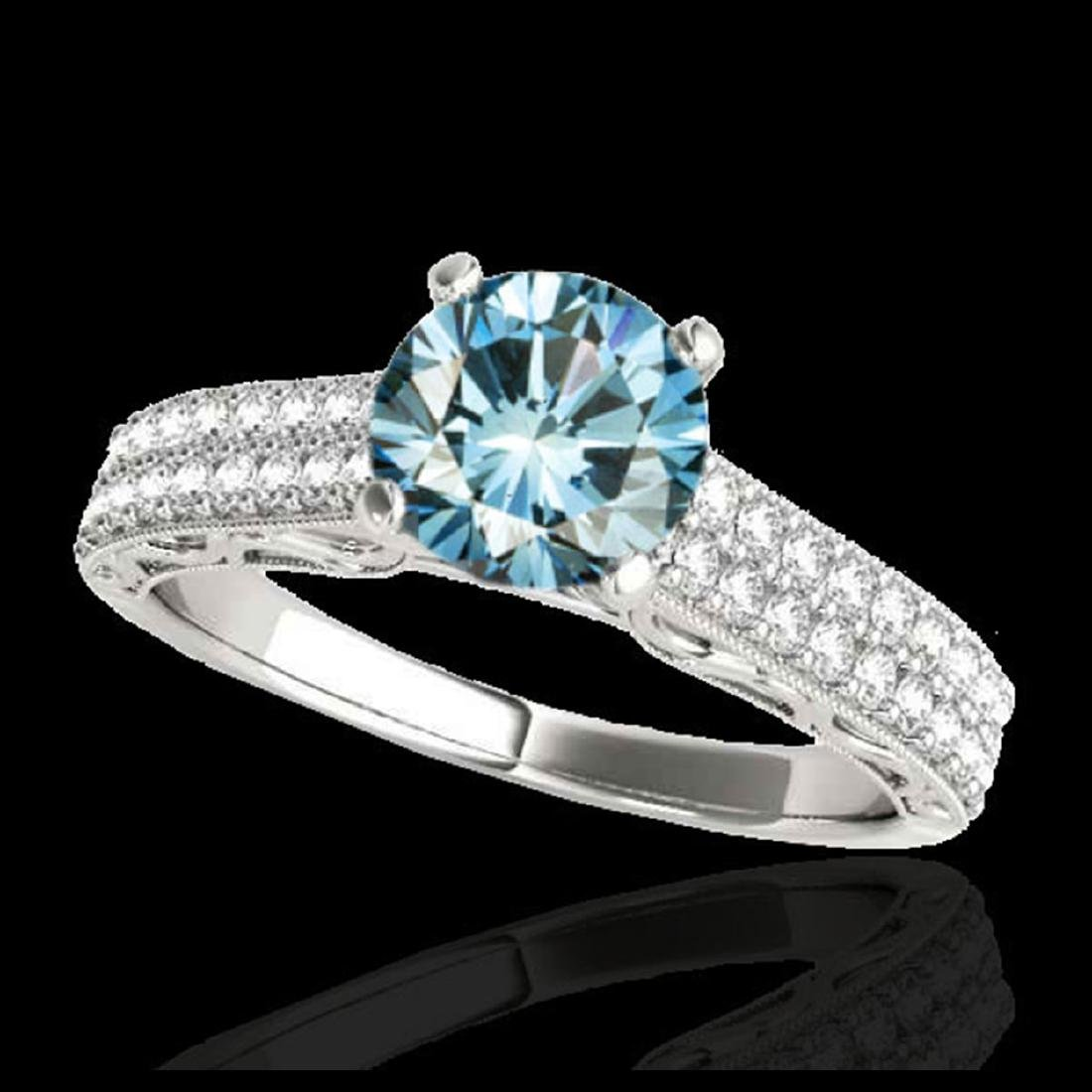 1.41 CTW SI Certified Blue Diamond Solitaire Antique