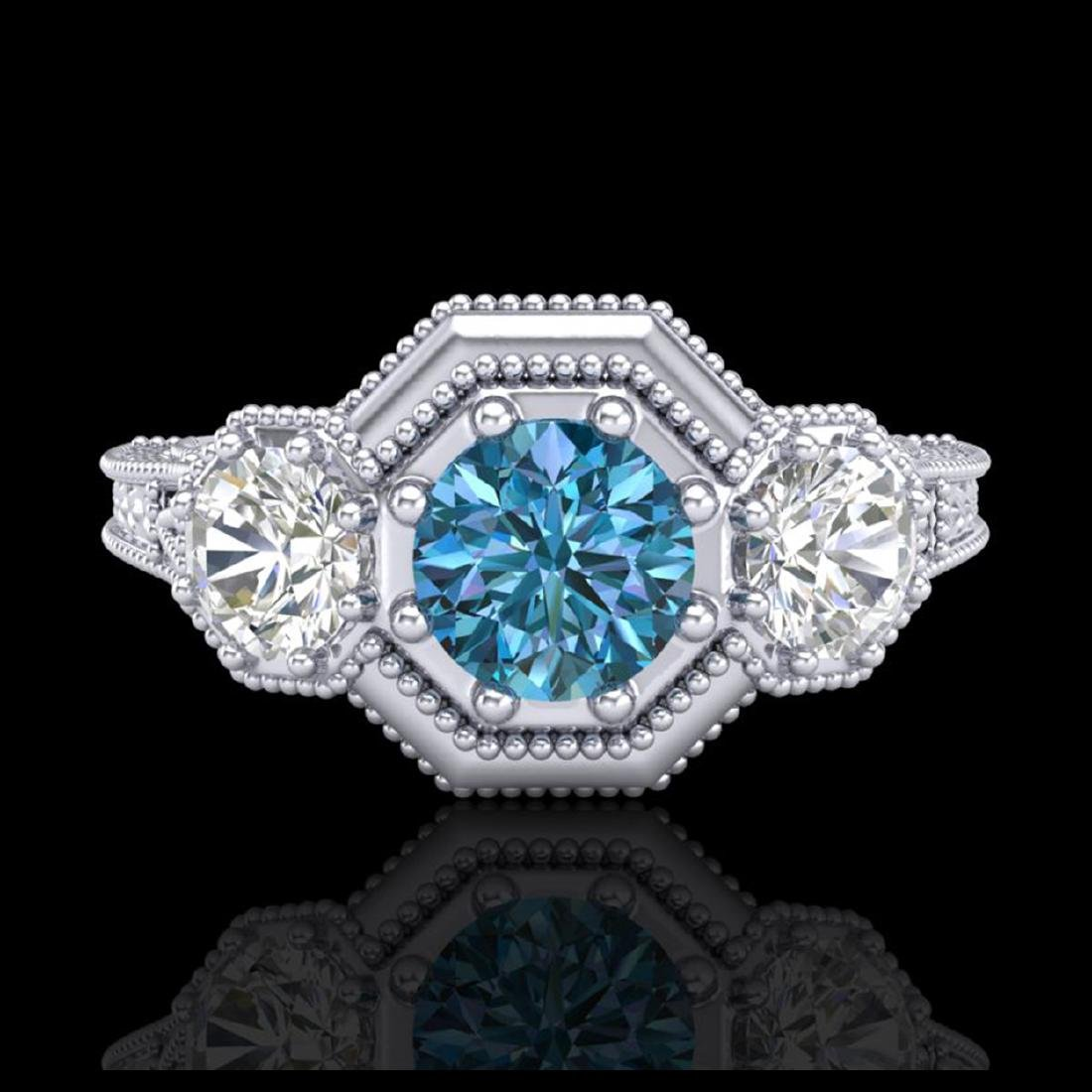 1.05 CTW Intense Blue Diamond Solitaire Art Deco 3 - 2