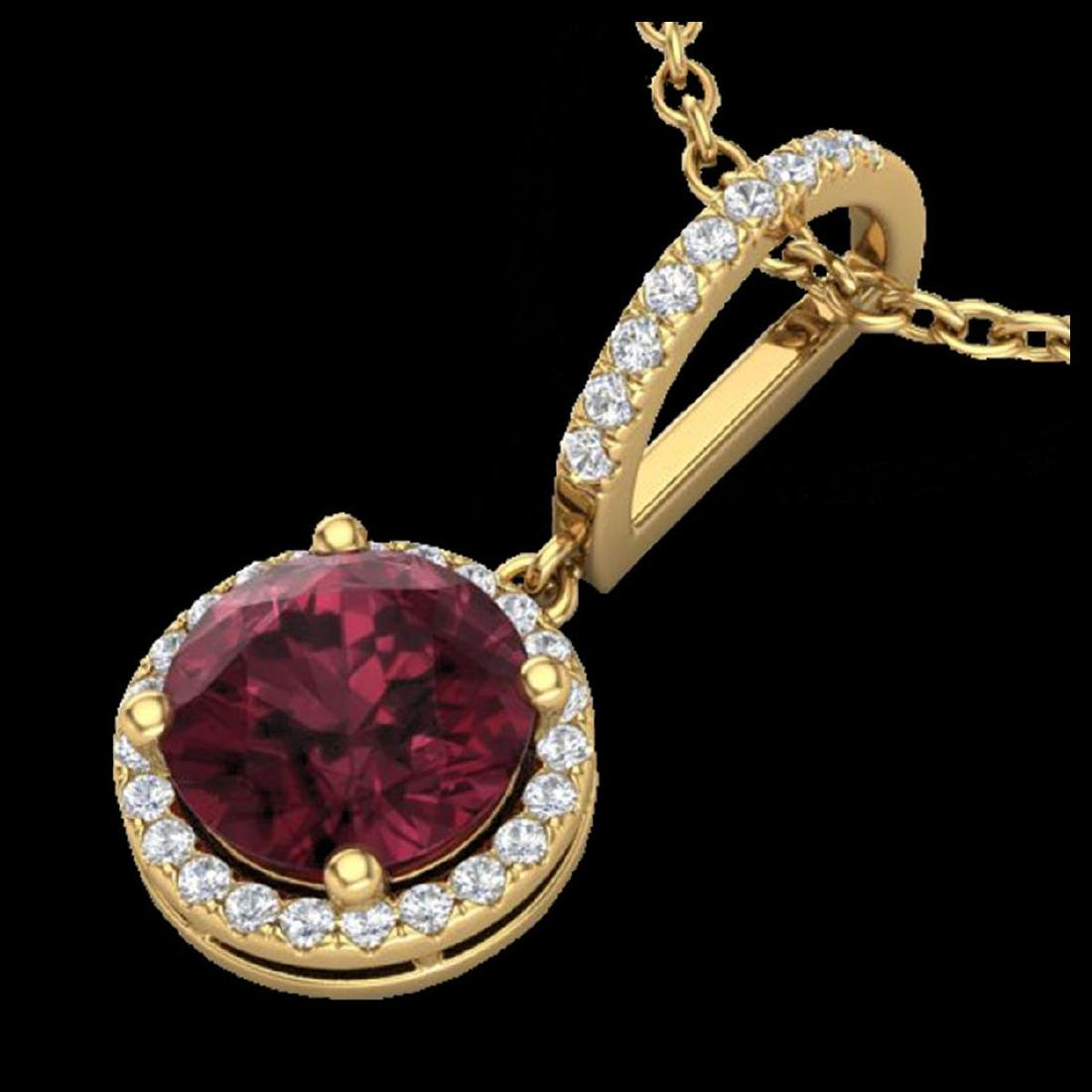2.75 CTW Garnet & Micro Pave VS/SI Diamond Necklace