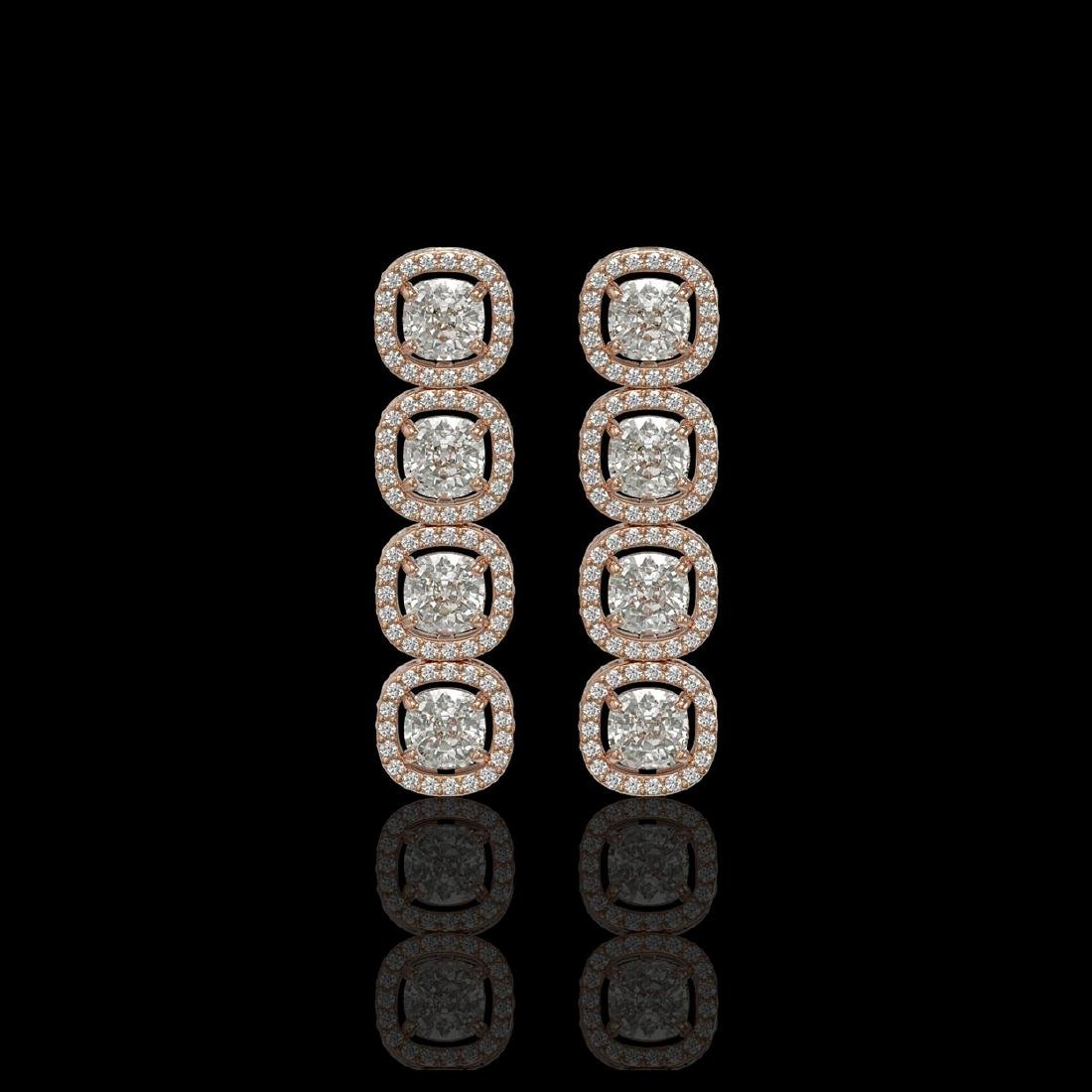 5.28 CTW Cushion Diamond Designer Earrings 18K Rose