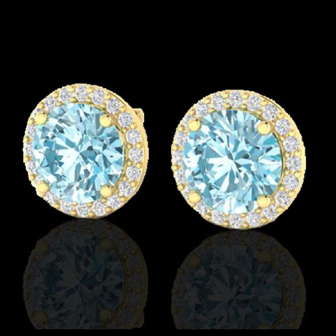4 CTW Sky Blue Topaz & Halo VS/SI Diamond Micro