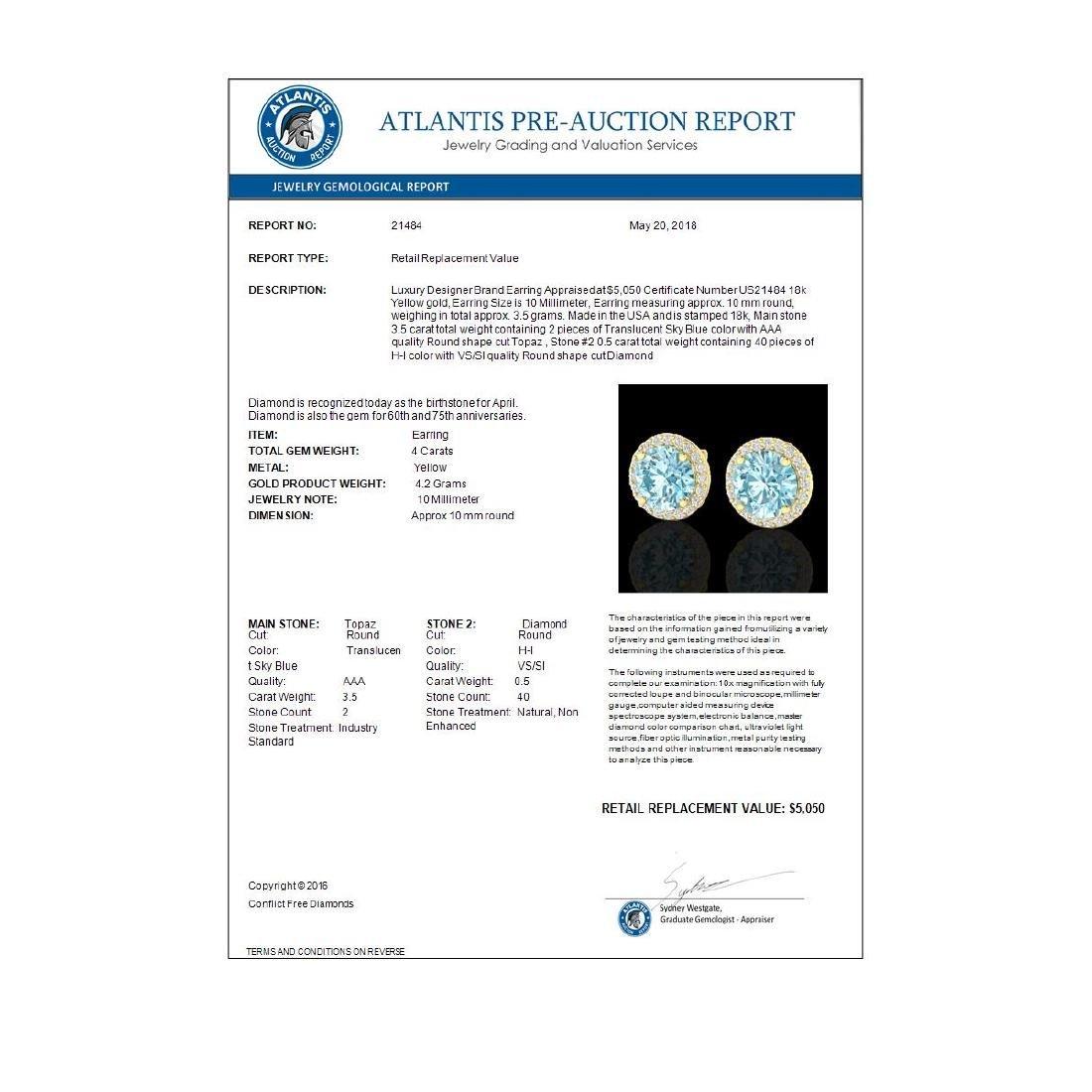 4 CTW Sky Blue Topaz & Halo VS/SI Diamond Micro - 3