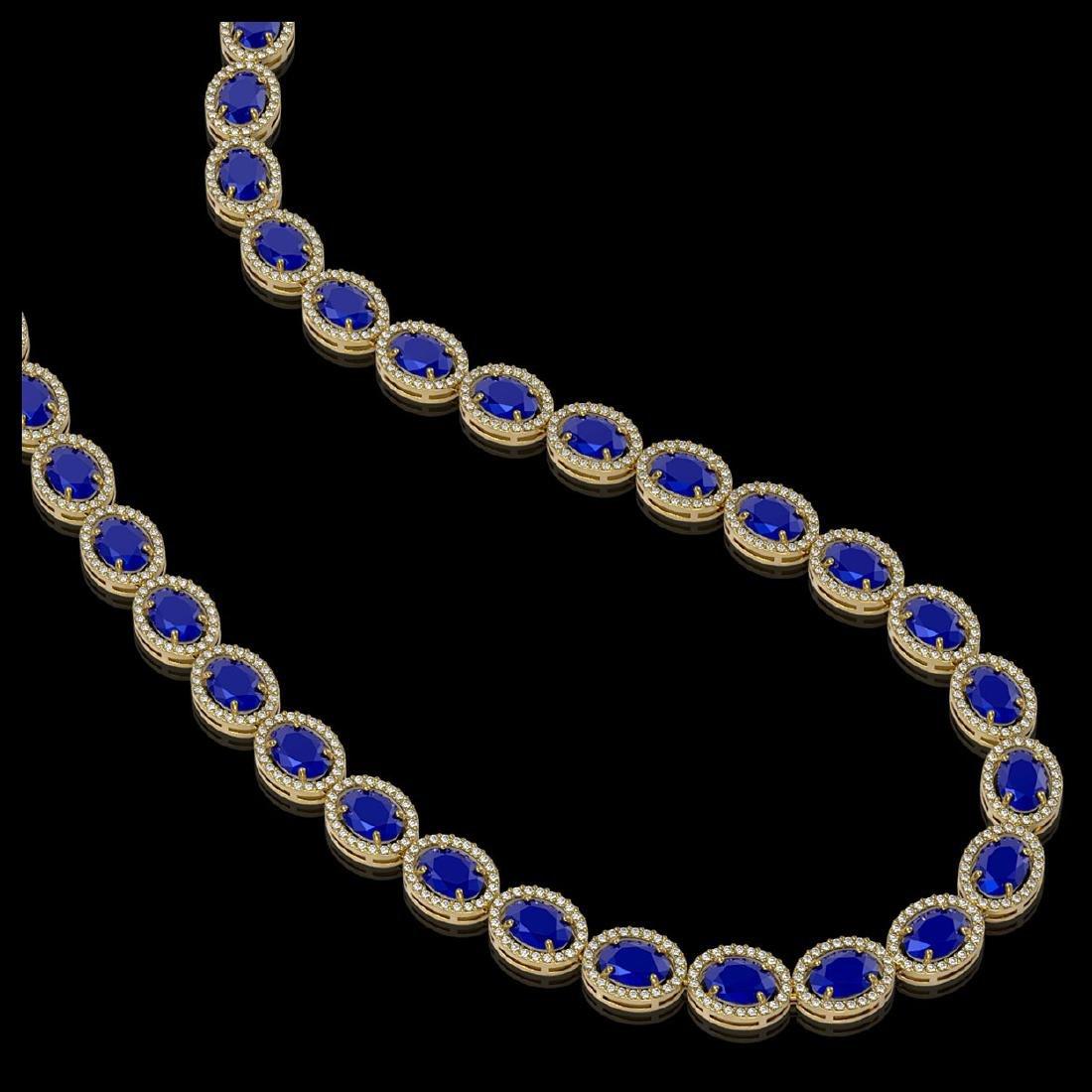 52.15 CTW Sapphire & Diamond Halo Necklace 10K Yellow - 2