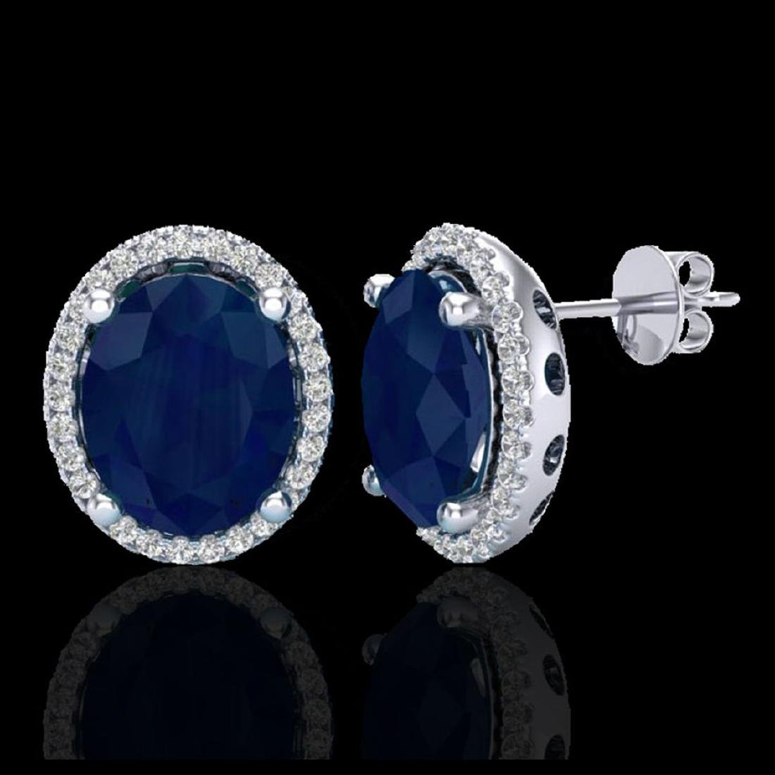 6 CTW Sapphire & Micro Pave VS/SI Diamond Earrings Halo - 2