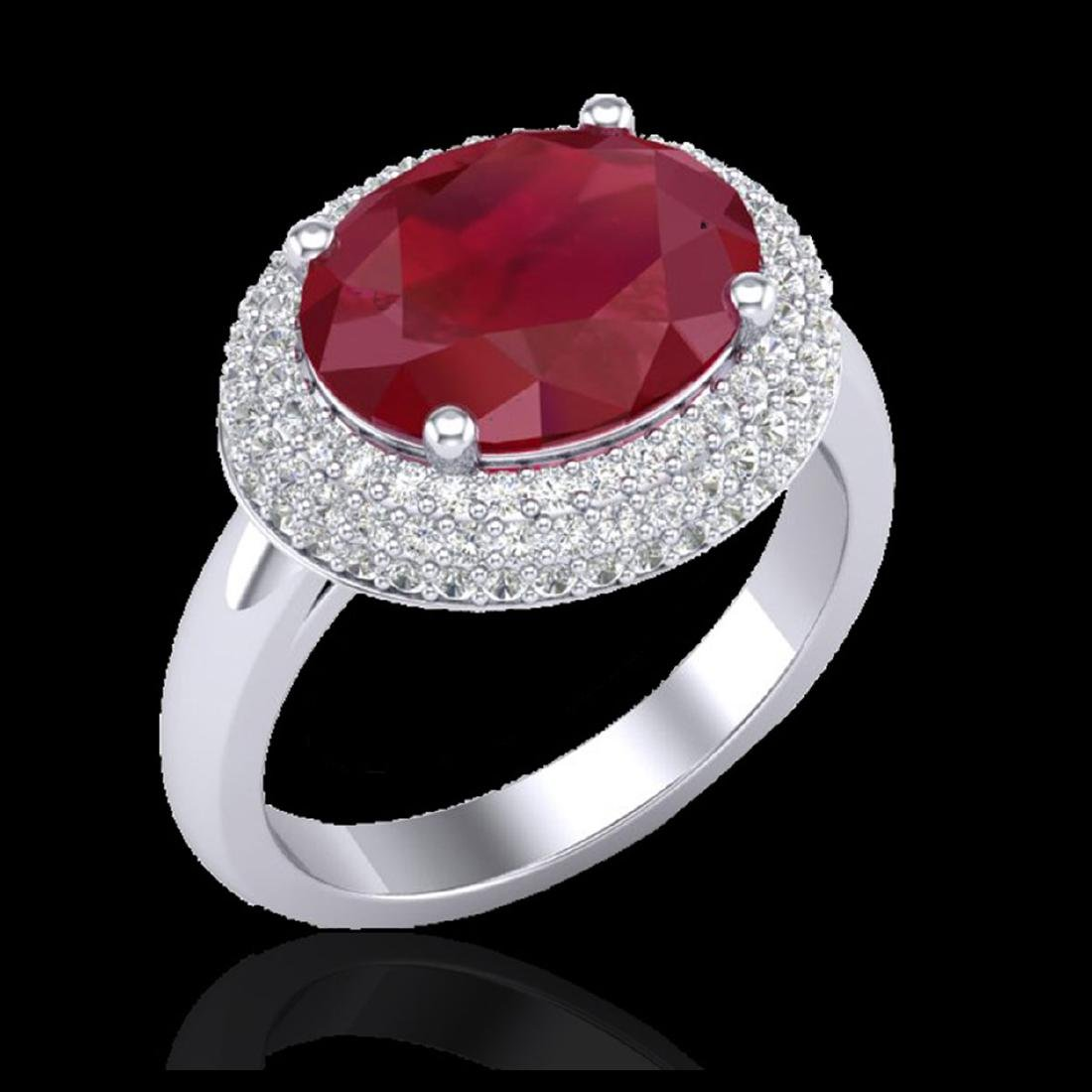 4.50 CTW Ruby & Micro Pave VS/SI Diamond Ring 18K White