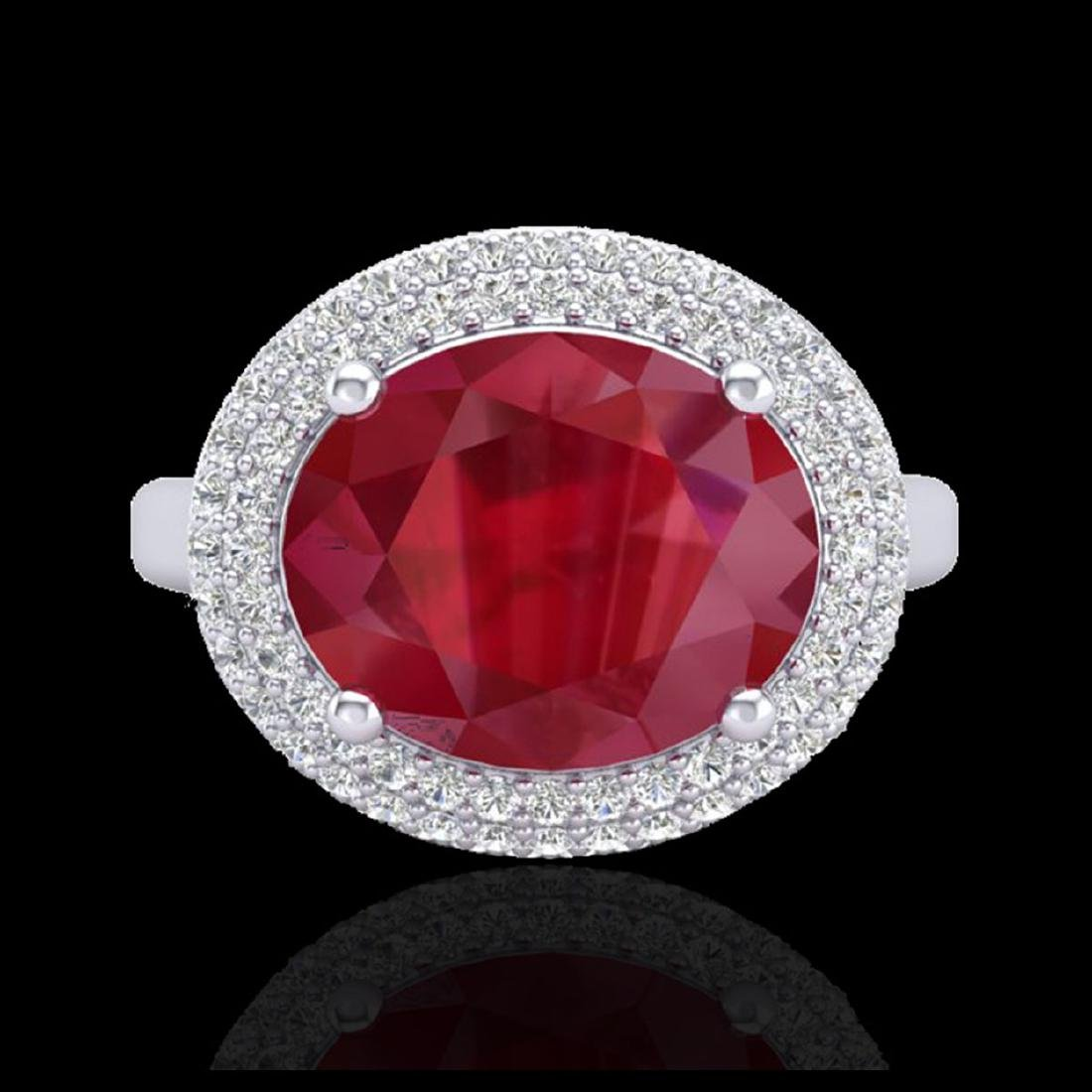 4.50 CTW Ruby & Micro Pave VS/SI Diamond Ring 18K White - 2