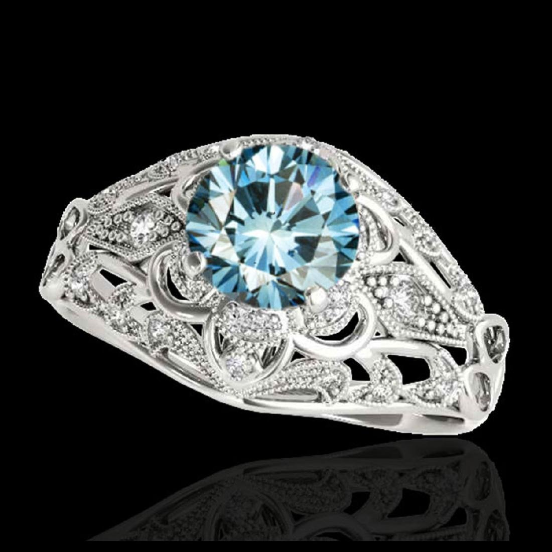 1.36 CTW SI Certified Blue Diamond Solitaire Antique