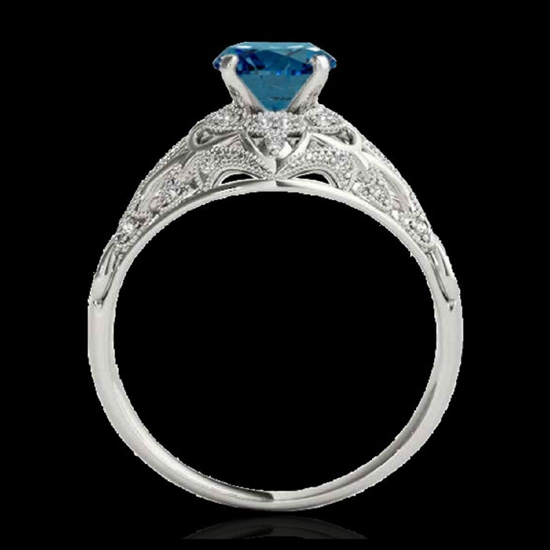 1.36 CTW SI Certified Blue Diamond Solitaire Antique - 2