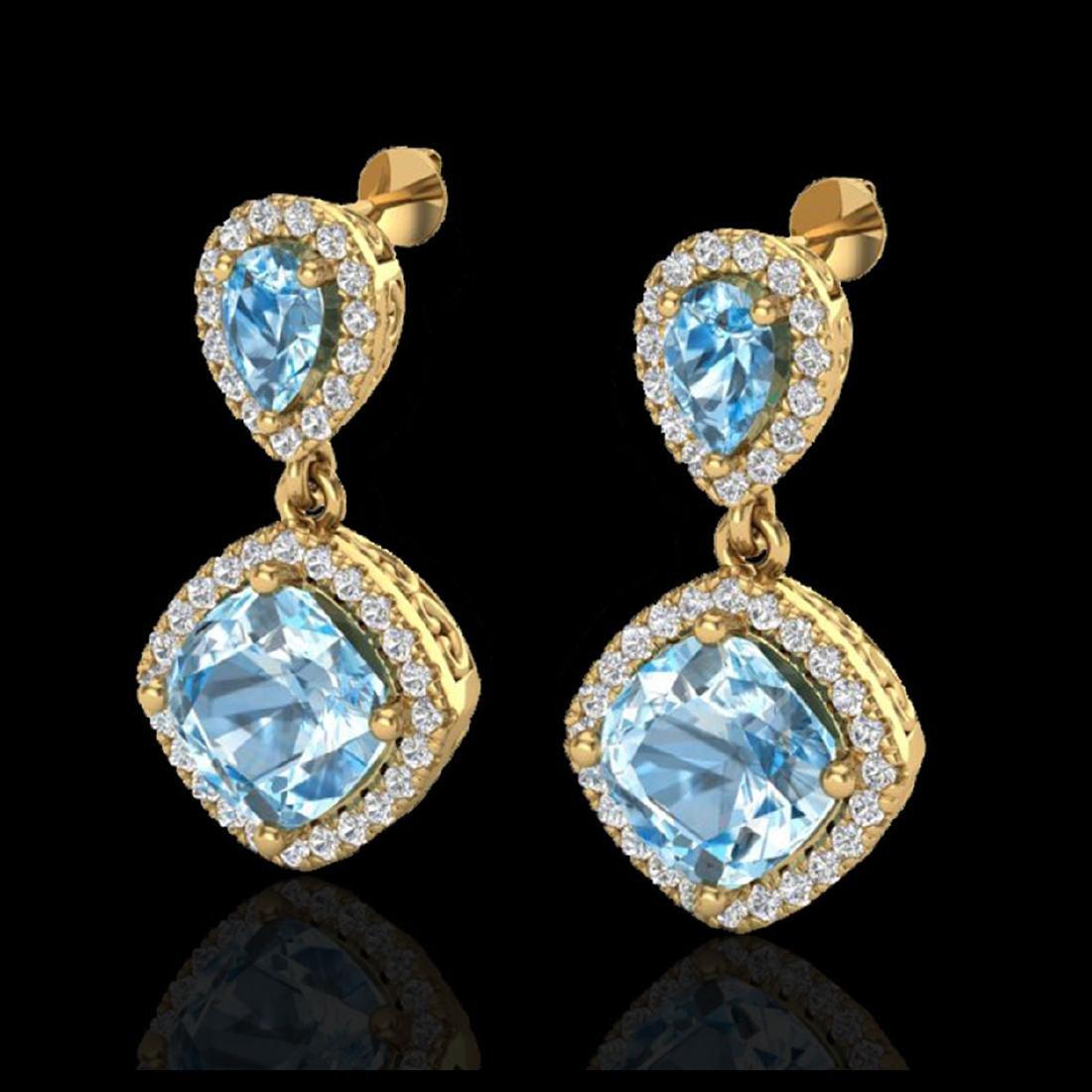 7 CTW Sky Blue Topaz & Micro VS/SI Diamond Earrings